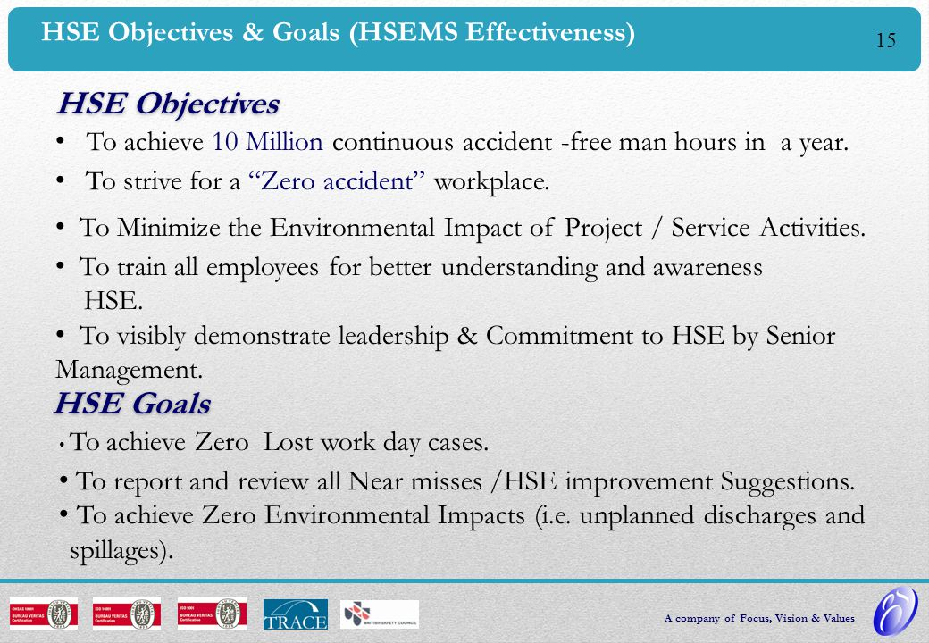 HSE Objectives HSE Goals HSE Objectives & Goals (HSEMS Effectiveness)