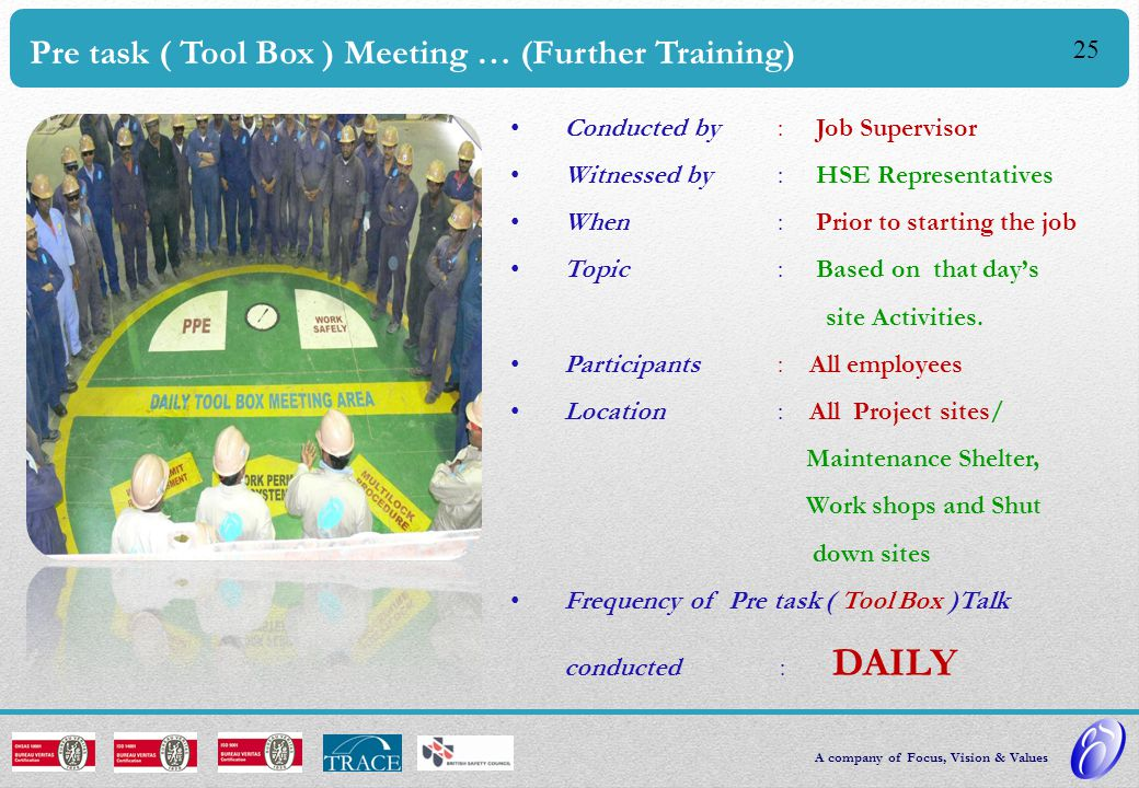 Pre task ( Tool Box ) Meeting … (Further Training)