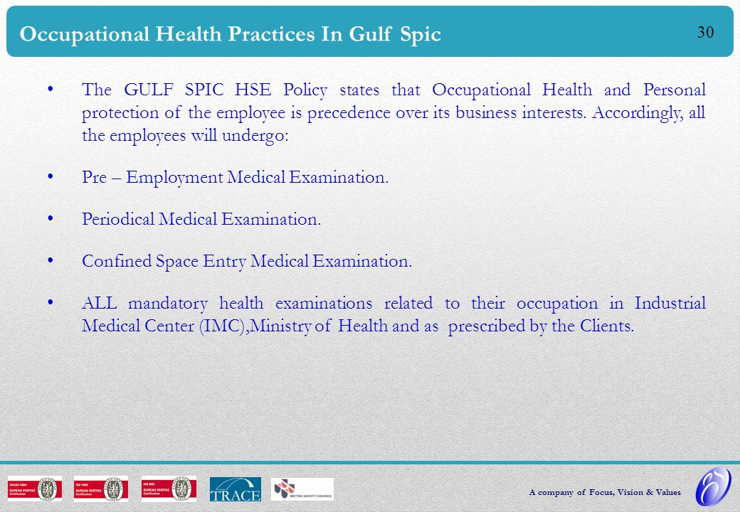 Occupational Health Practices In Gulf Spic