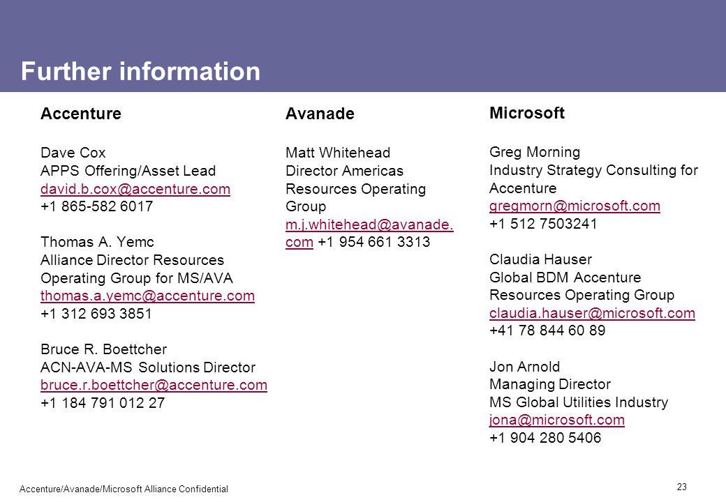 Further information Accenture Avanade Microsoft Dave Cox