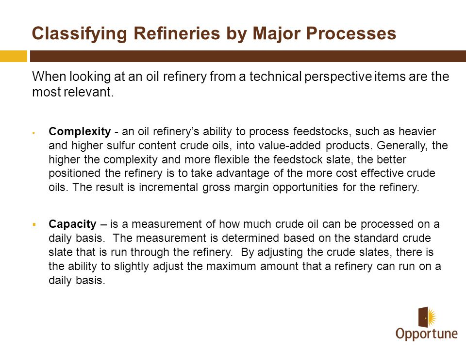 Classifying Refineries by Major Processes