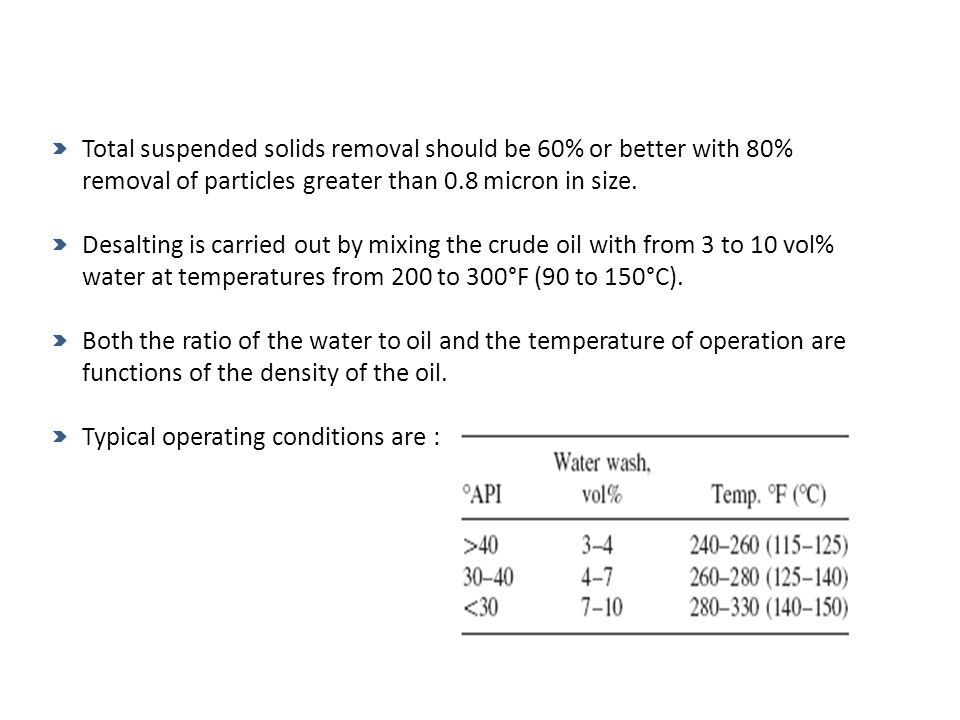 Total suspended solids removal should be 60% or better with 80% removal of particles greater than 0.8 micron in size.