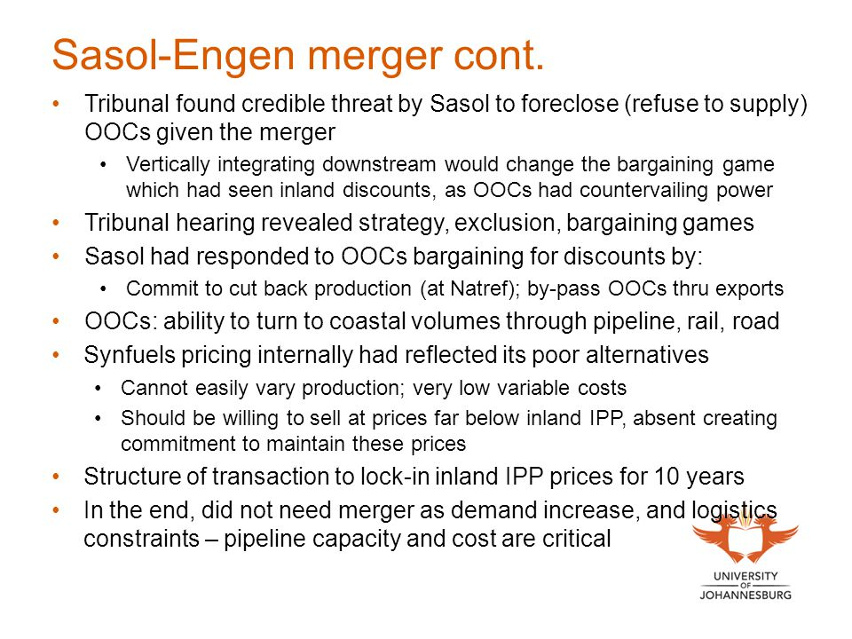 Sasol-Engen merger cont.