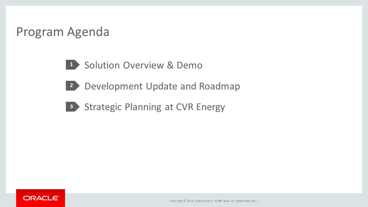 Program Agenda 1. Solution Overview & Demo Development Update and Roadmap Strategic Planning at CVR Energy