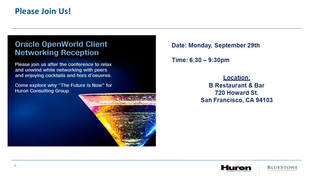 Please Join Us! Date: Monday, September 29th. Time: 6:30 – 9:30pm. Location: B Restaurant & Bar.