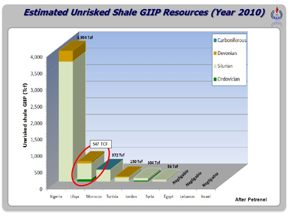 Estimated Unrisked Shale GIIP Resources (Year 2010)