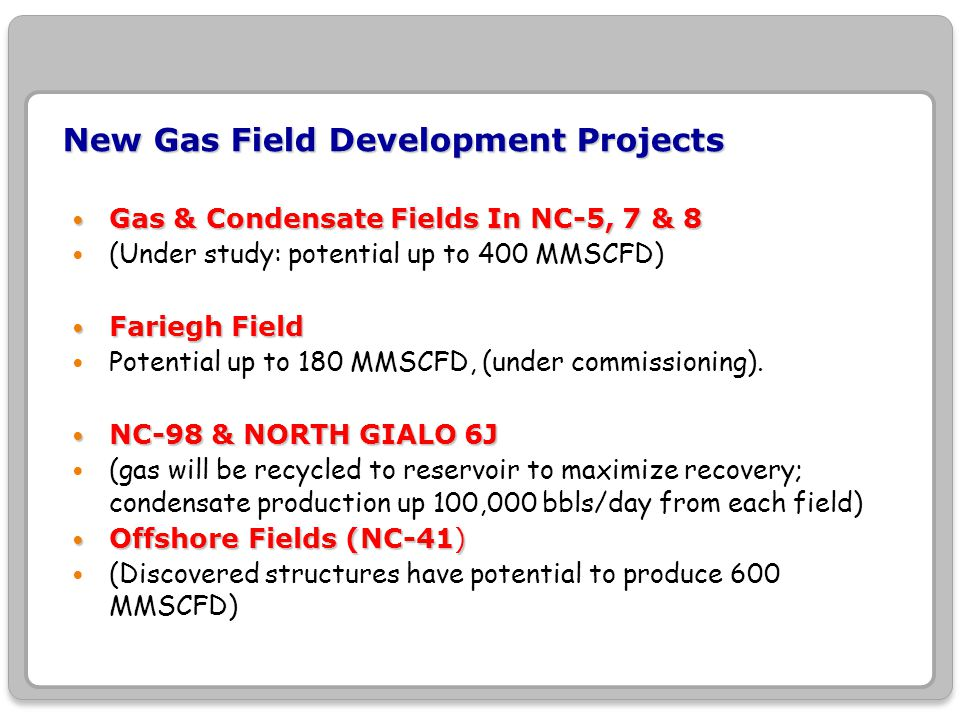 New Gas Field Development Projects