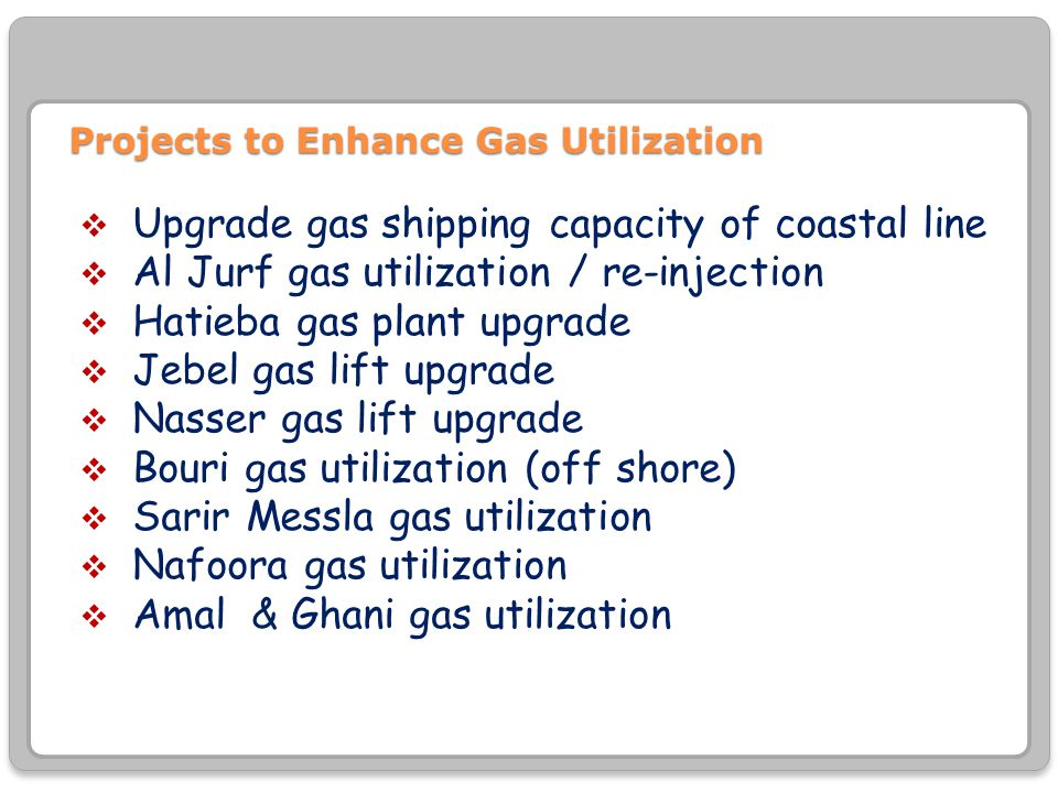 Projects to Enhance Gas Utilization