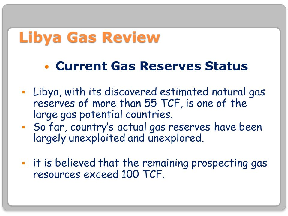 Current Gas Reserves Status