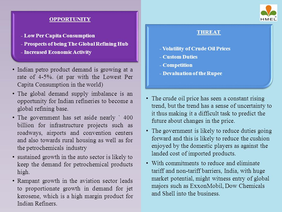 OPPORTUNITY - Low Per Capita Consumption. - Prospects of being The Global Refining Hub. - Increased Economic Activity.