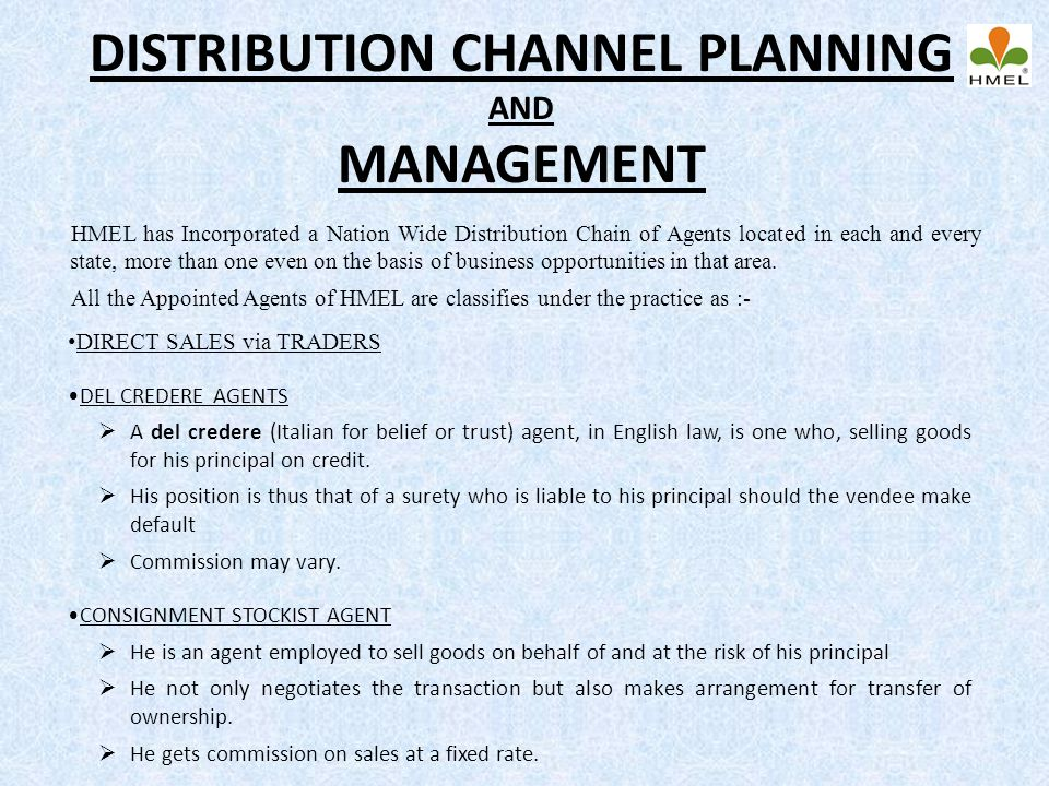 DISTRIBUTION CHANNEL PLANNING AND MANAGEMENT