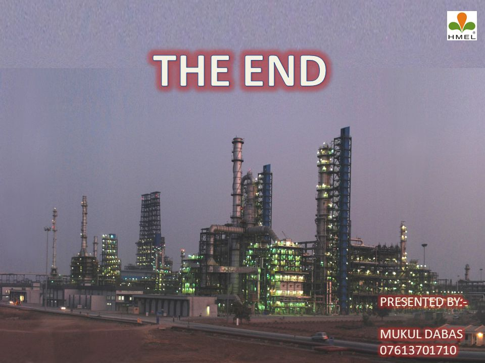 THE END PRESENTED BY:- MUKUL DABAS 07613701710
