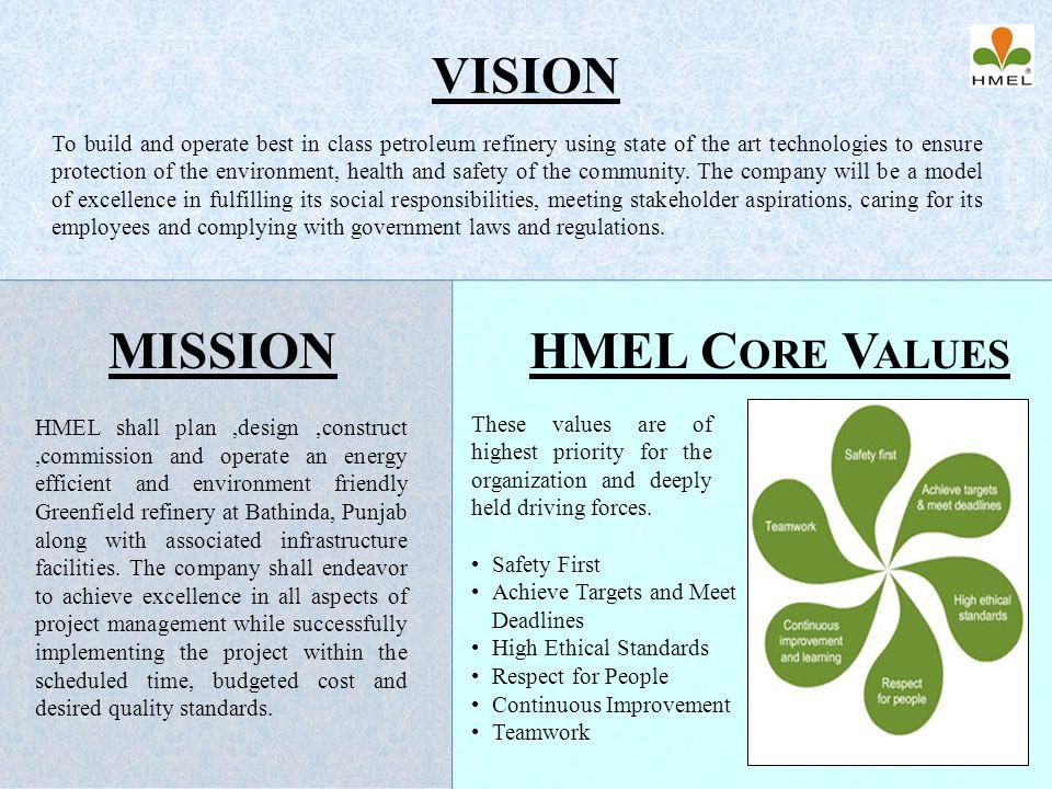 VISION MISSION HMEL Core Values
