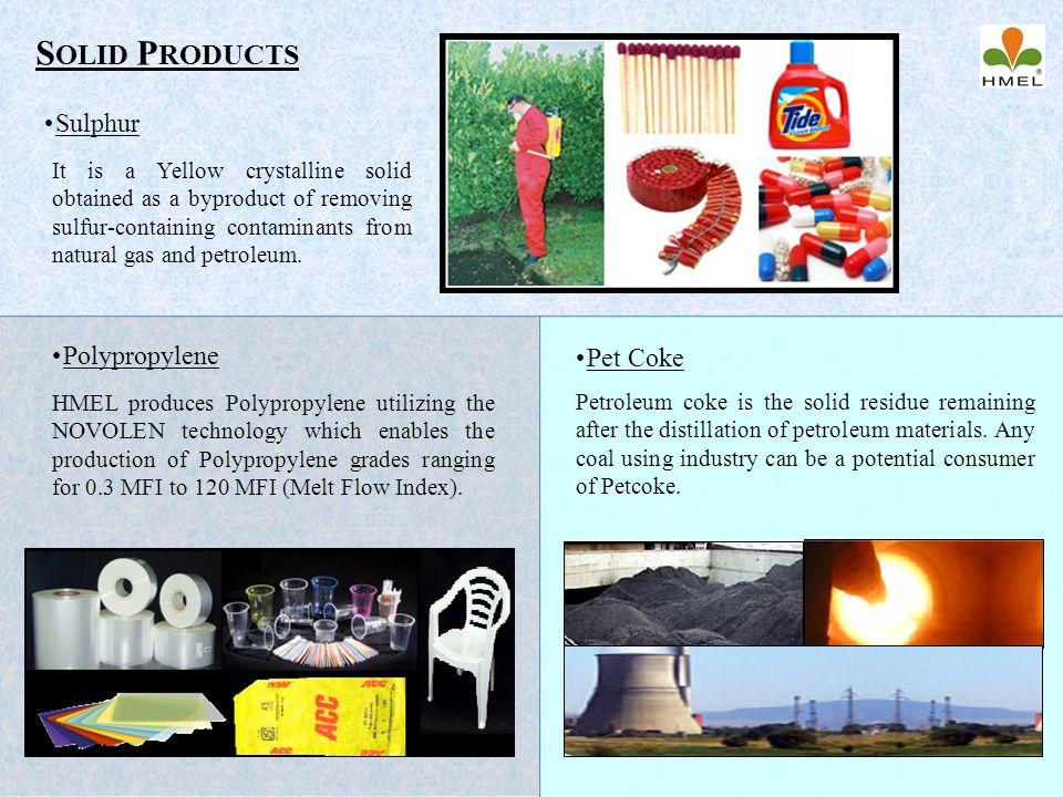 Solid Products Sulphur Polypropylene Pet Coke