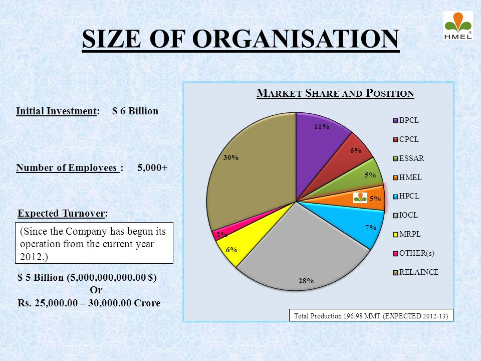 SIZE OF ORGANISATION Market Share and Position