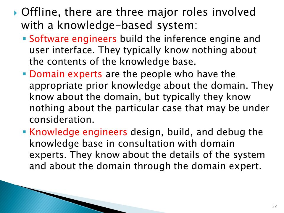 Offline, there are three major roles involved with a knowledge-based system: