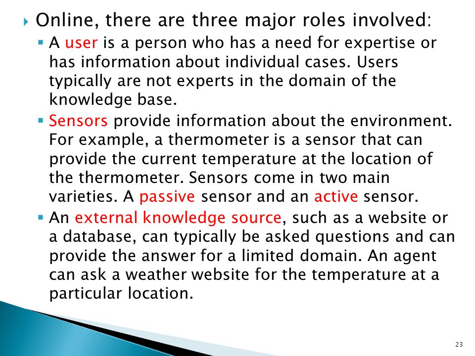 Online, there are three major roles involved: