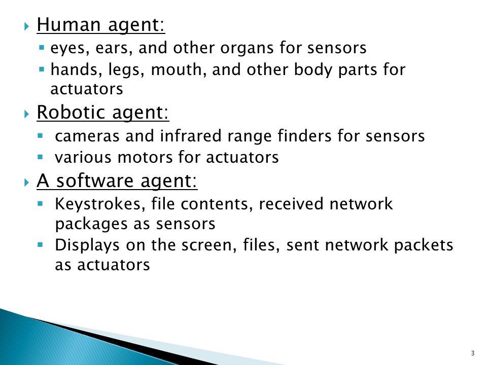 Human agent: Robotic agent: A software agent: