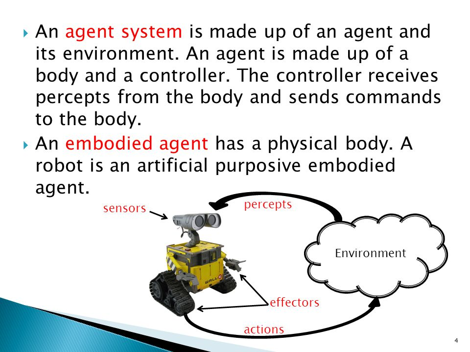 An agent system is made up of an agent and its environment