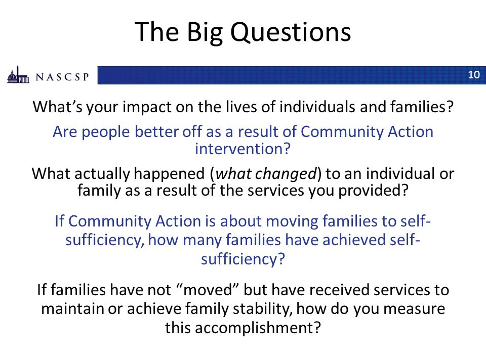 The Big Questions What's your impact on the lives of individuals and families Are people better off as a result of Community Action intervention