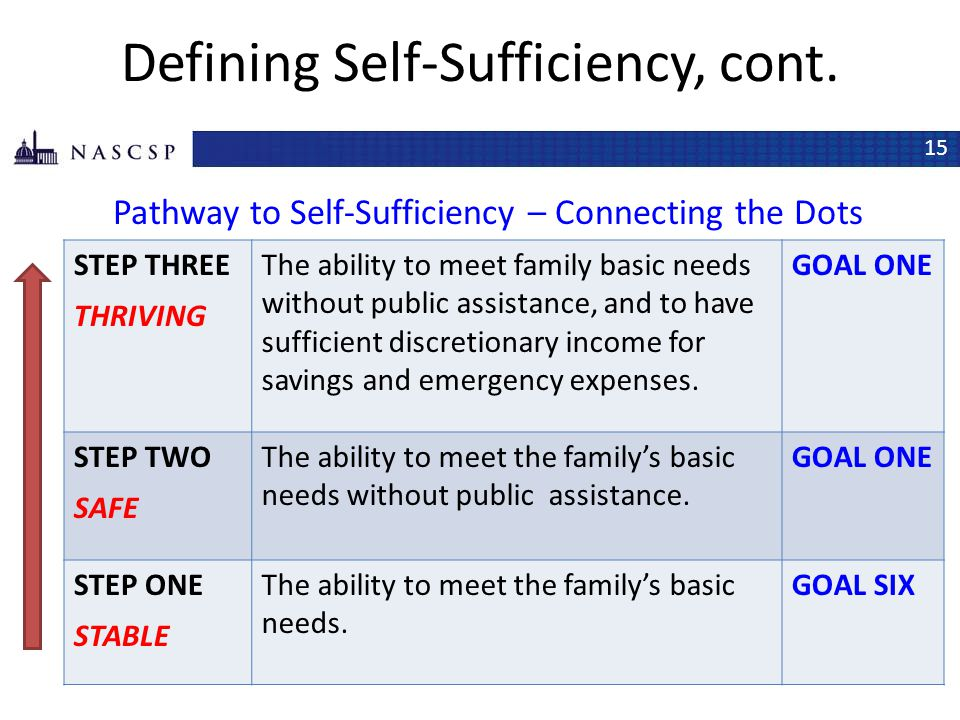 Defining Self-Sufficiency, cont.