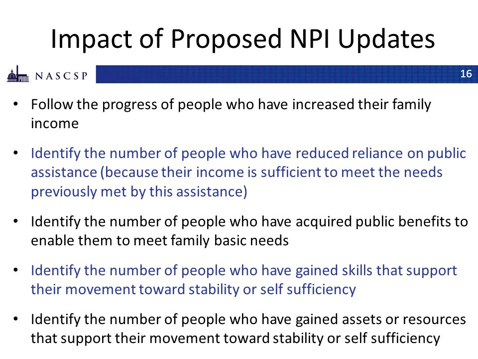 Impact of Proposed NPI Updates
