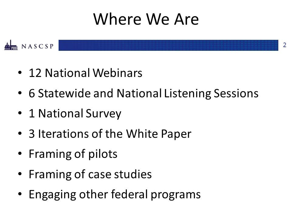 Where We Are 12 National Webinars