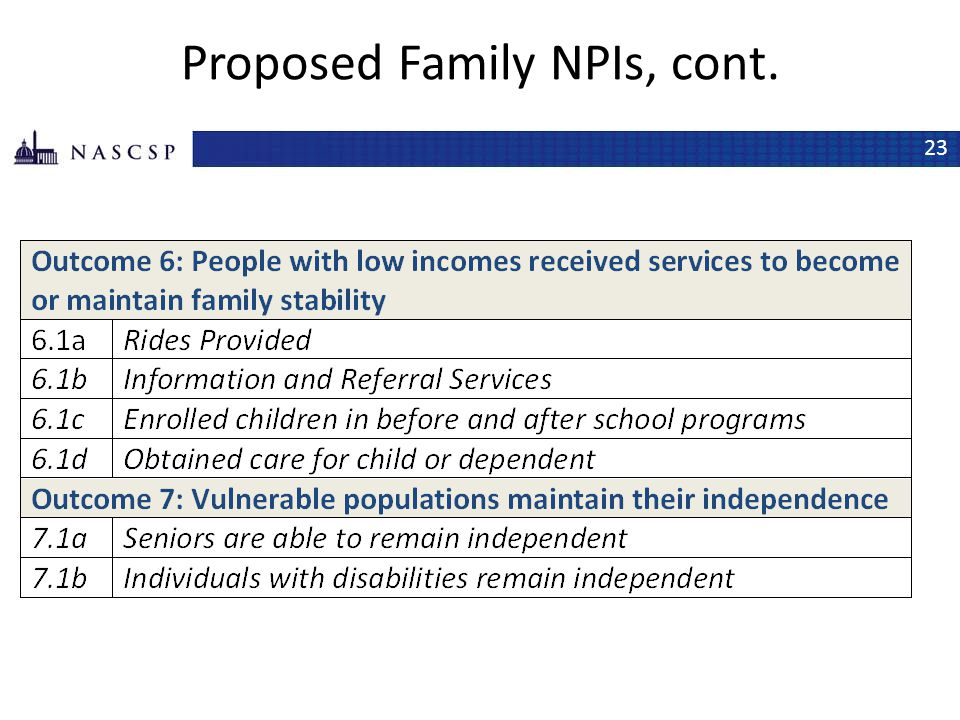 Proposed Family NPIs, cont.