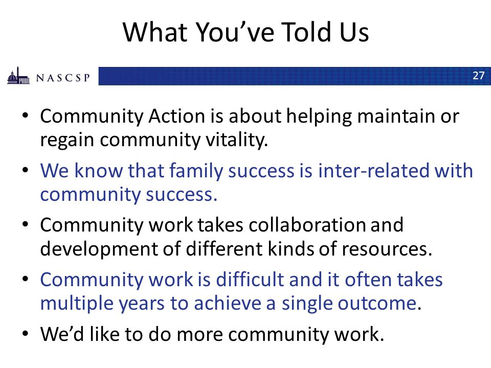 What You've Told Us Community Action is about helping maintain or regain community vitality.