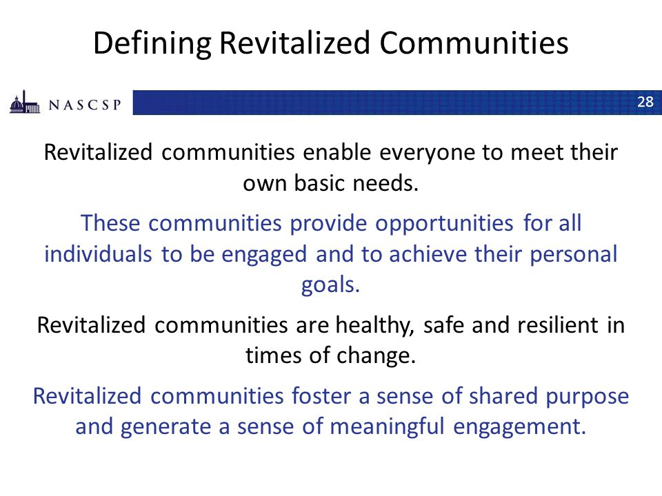 Defining Revitalized Communities