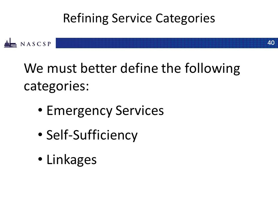 Refining Service Categories