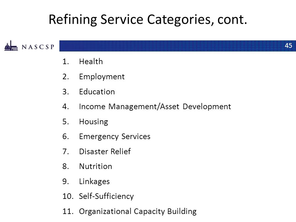 Refining Service Categories, cont.