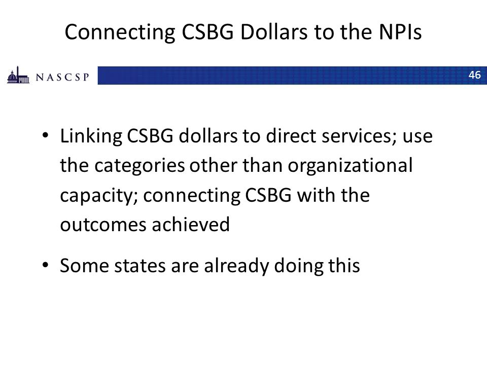 Connecting CSBG Dollars to the NPIs
