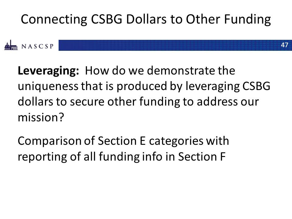 Connecting CSBG Dollars to Other Funding