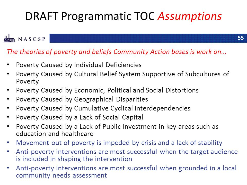 DRAFT Programmatic TOC Assumptions