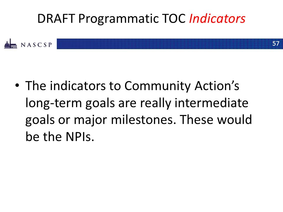 DRAFT Programmatic TOC Indicators