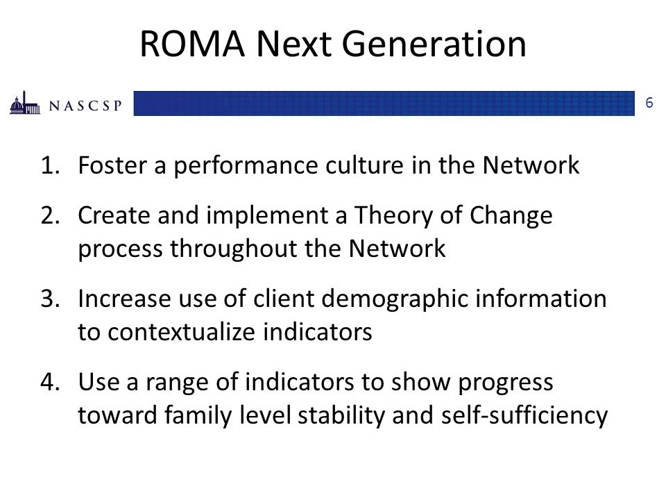 ROMA Next Generation Foster a performance culture in the Network