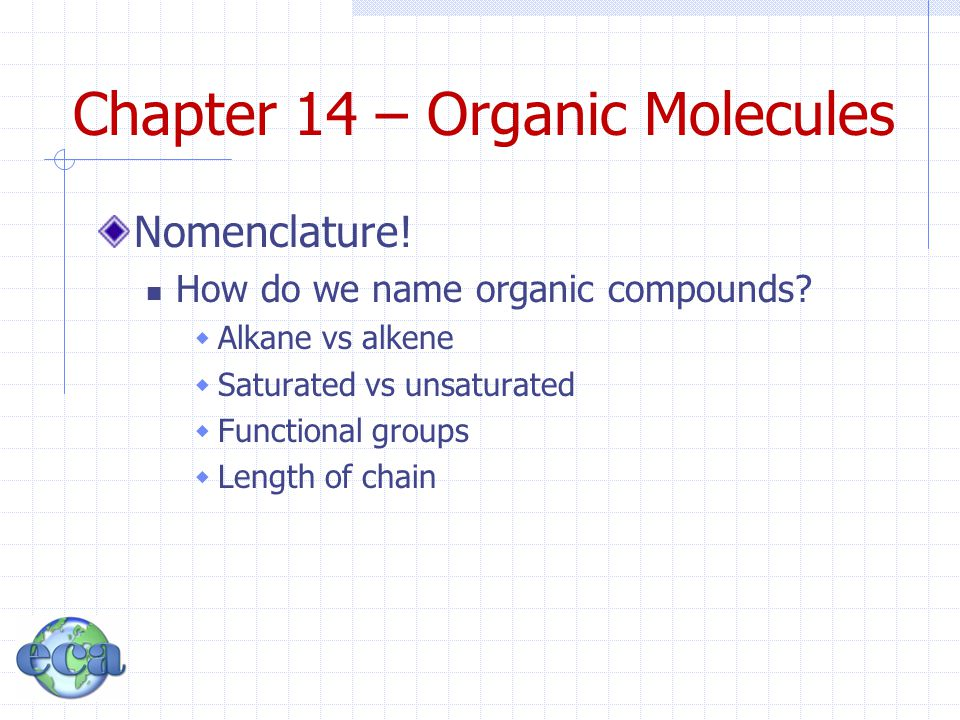 Chapter 14 – Organic Molecules