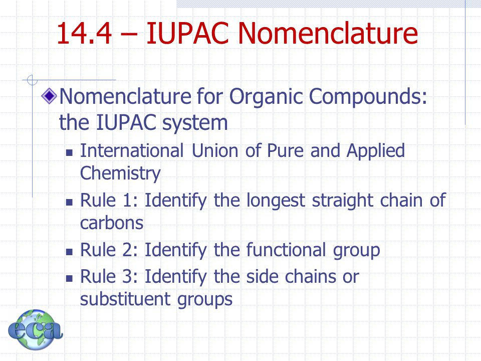 14.4 – IUPAC Nomenclature Nomenclature for Organic Compounds: the IUPAC system. International Union of Pure and Applied Chemistry.