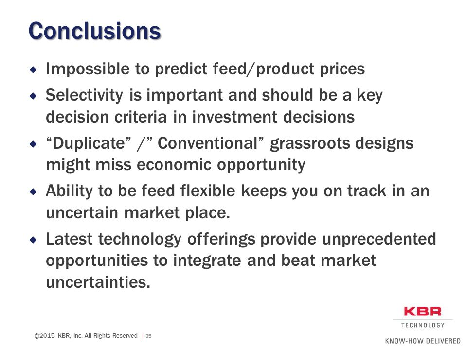 Conclusions Impossible to predict feed/product prices
