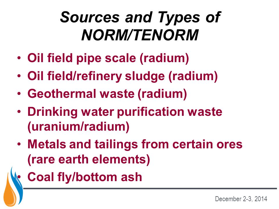 Sources and Types of NORM/TENORM