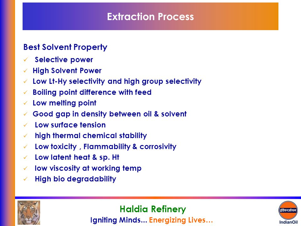 Extraction Process Best Solvent Property Selective power