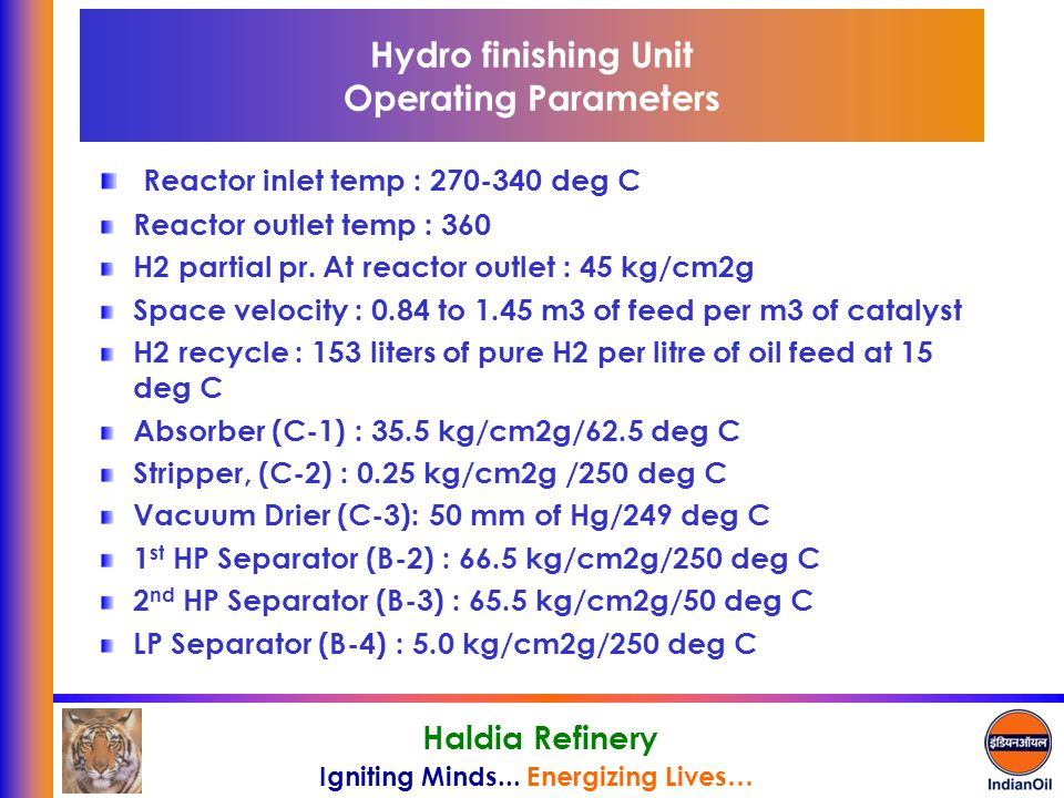 Hydro finishing Unit Operating Parameters