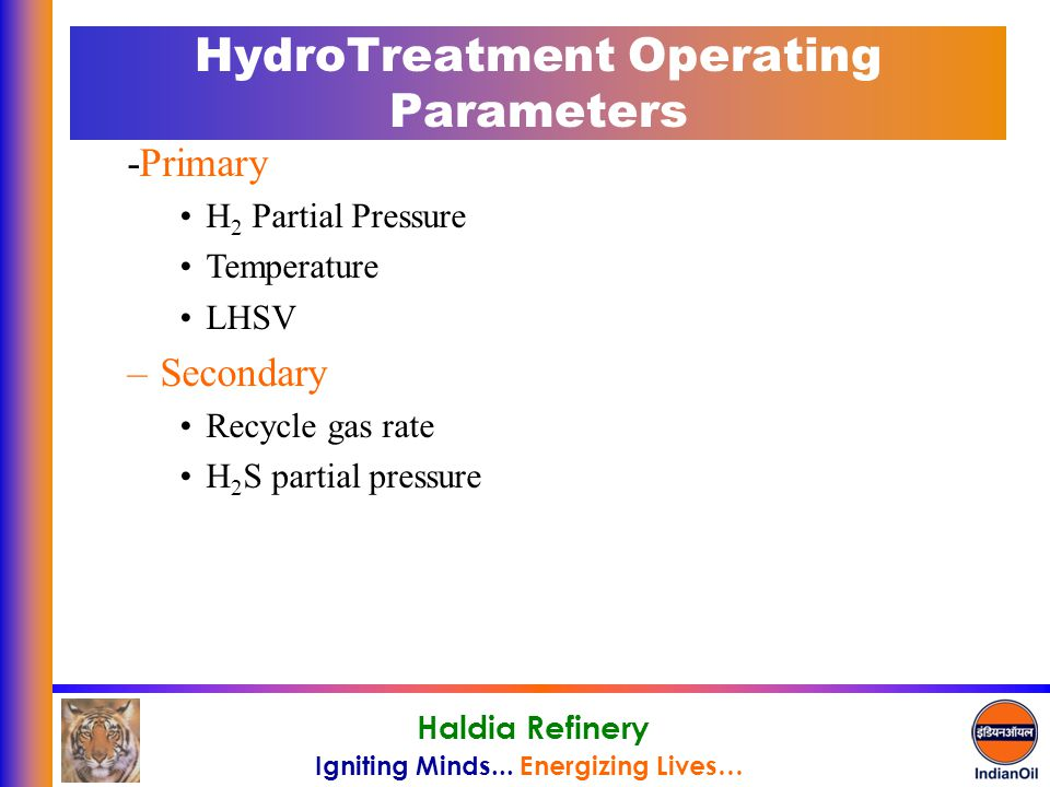 HydroTreatment Operating Parameters
