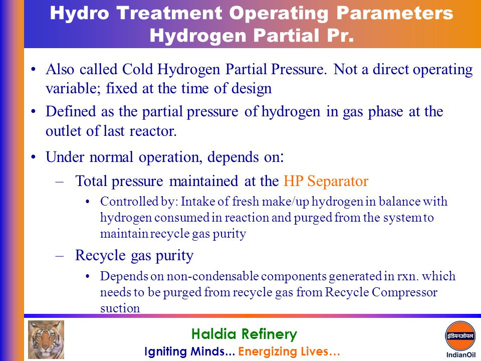 Hydro Treatment Operating Parameters Hydrogen Partial Pr.
