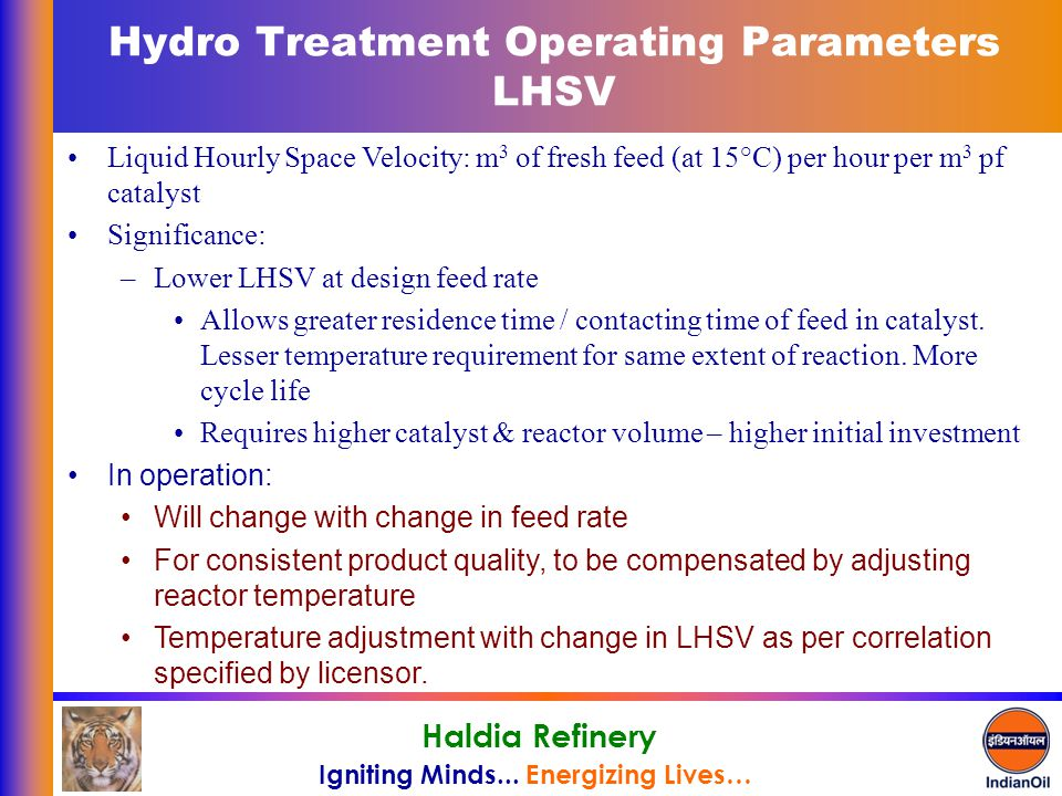 Hydro Treatment Operating Parameters LHSV