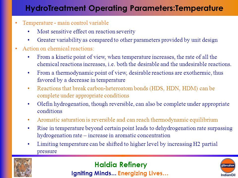 HydroTreatment Operating Parameters:Temperature