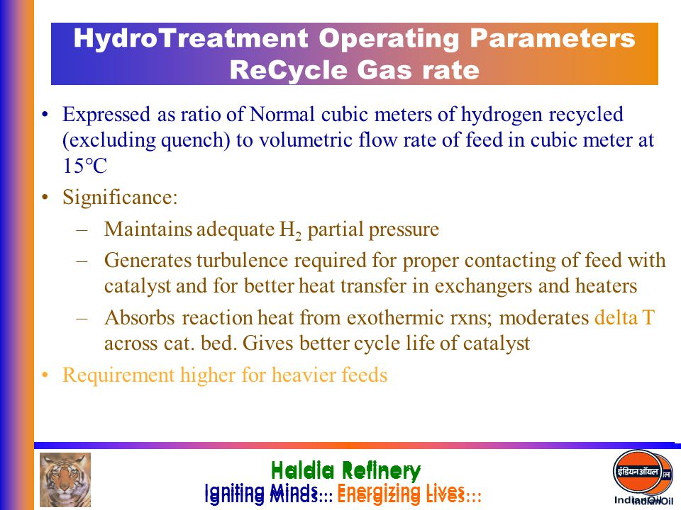 HydroTreatment Operating Parameters ReCycle Gas rate