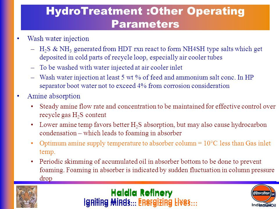 HydroTreatment :Other Operating Parameters