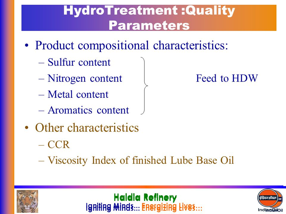 HydroTreatment :Quality Parameters
